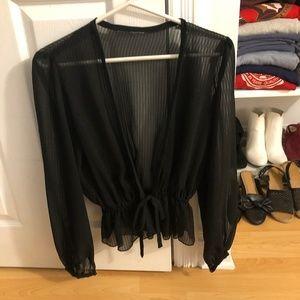 Stunning Sexy Sheer Parisian Black Blouse S/M